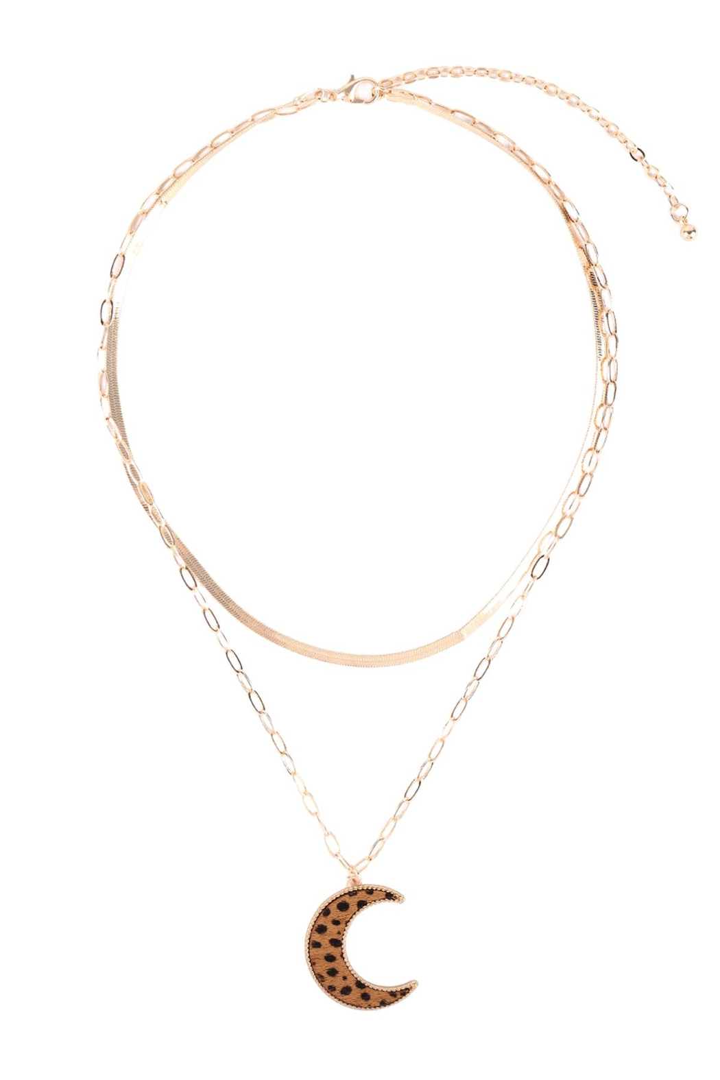 Riah Fashion Moon-Shape-Real-Calf-Hair-Leather-Layered-Necklace - Front Full Image