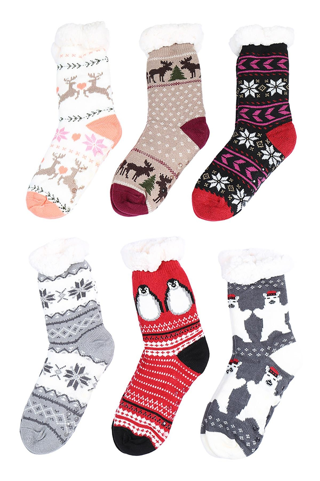 Riah Fashion Mopas Cozy-Duo-Layer-Crew-Socks-Christmas-Assorted-Set - Front Cropped Image