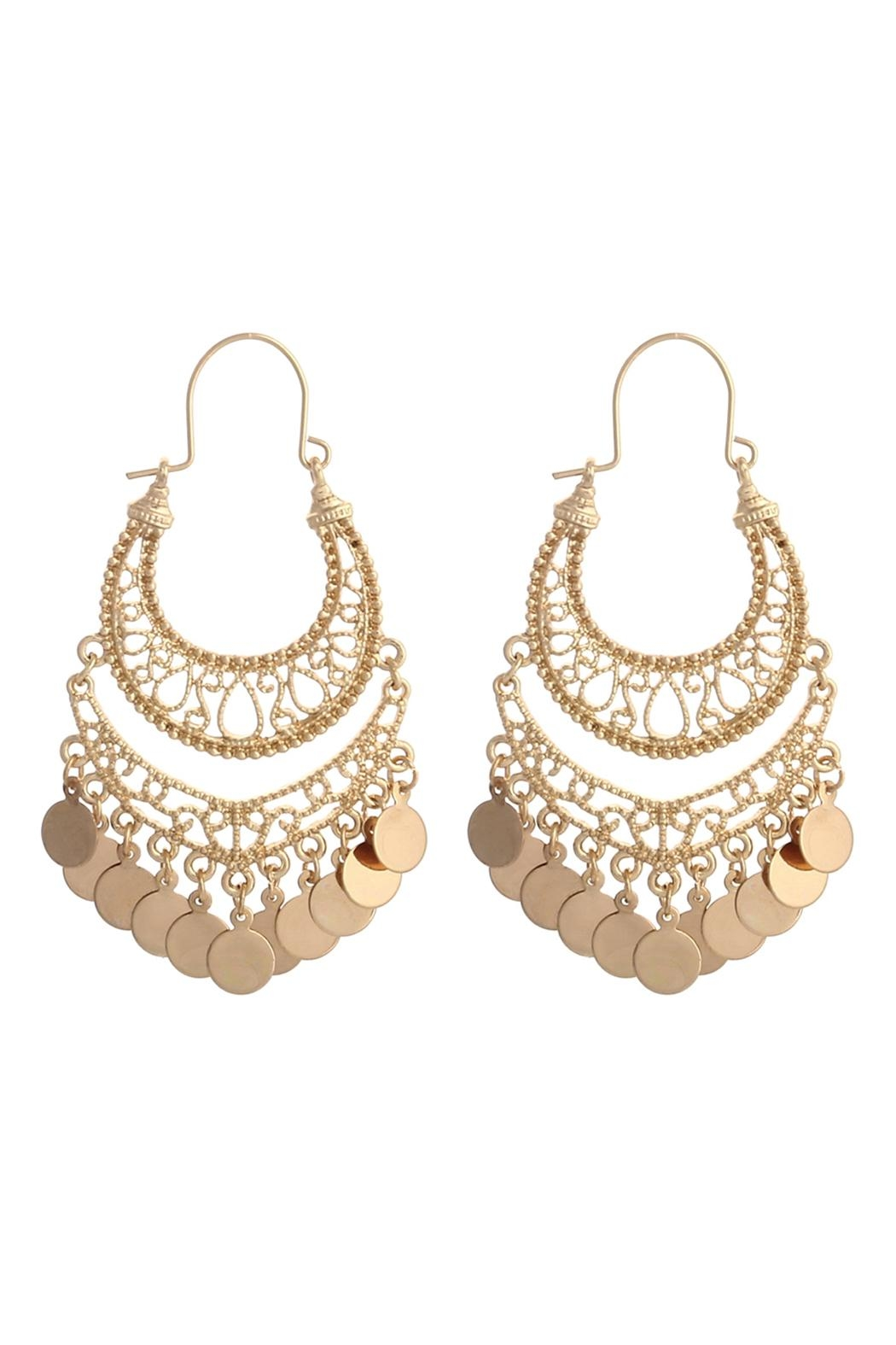Riah Fashion Moroccan Filigree Dangle-Earrings - Front Cropped Image