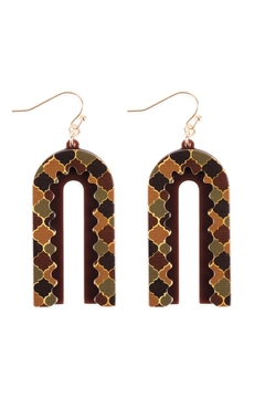Shoptiques Product:  Moroccan-Layered-Print-Acetate-Drop-Earrings
