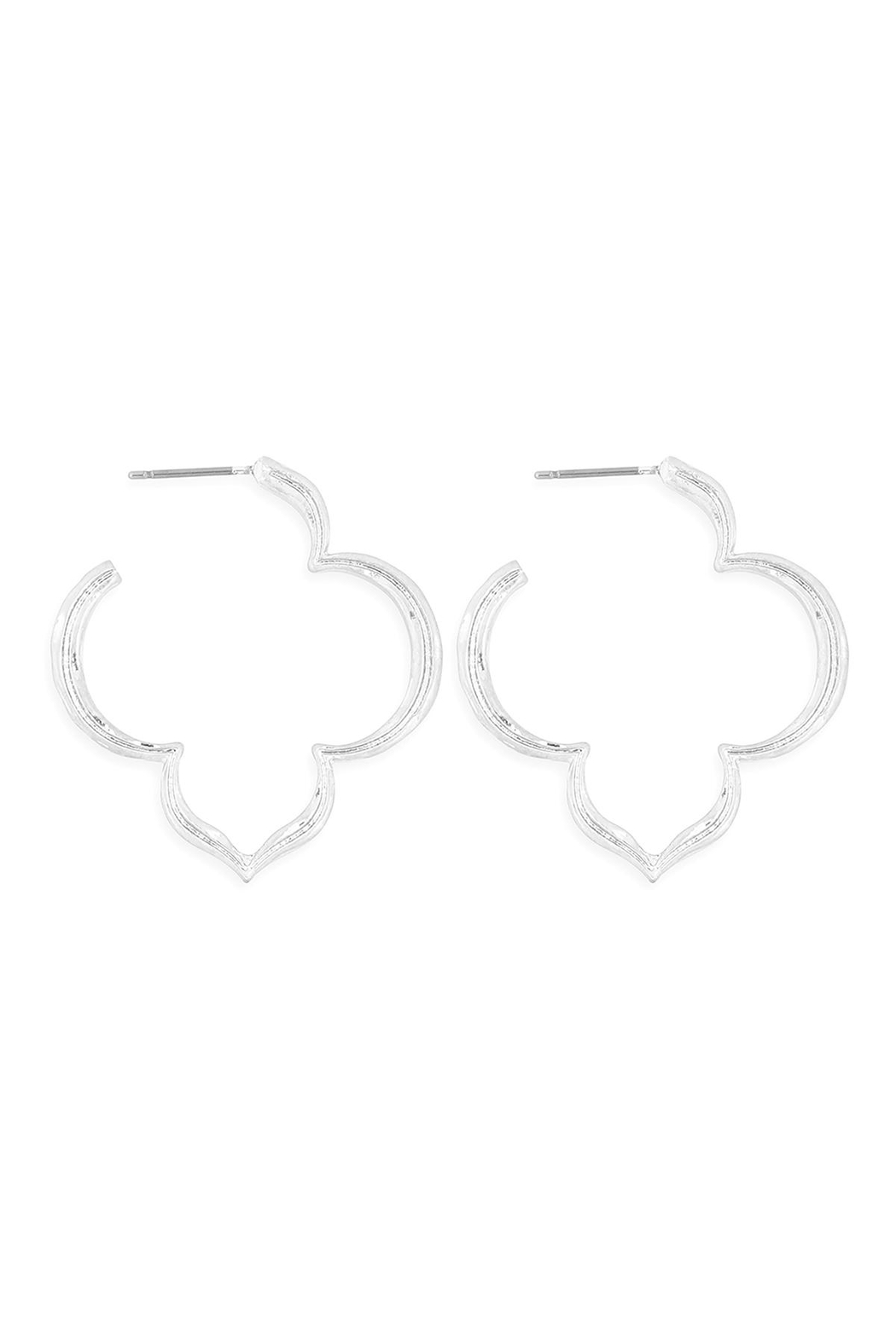 Riah Fashion Morrocan-Edged-Post-Earrings - Front Cropped Image