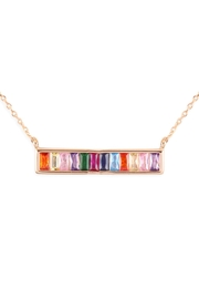 Riah Fashion Multi Color-Crystal-Stick-Brass-Necklace - Product Mini Image