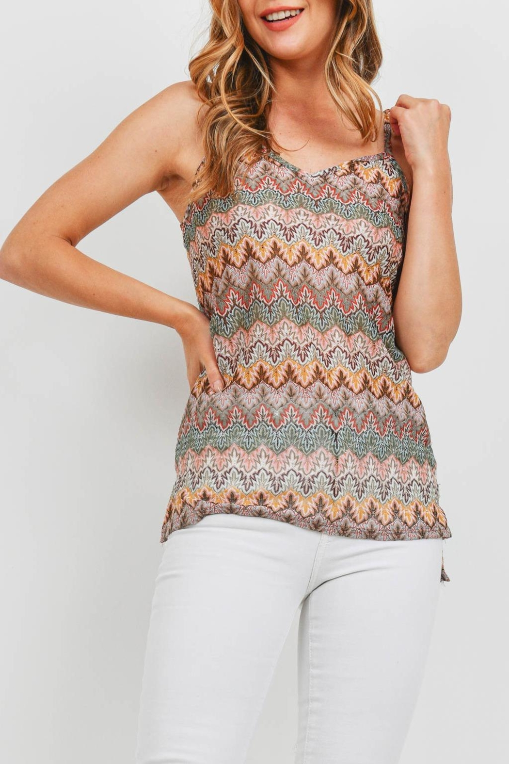 Riah Fashion Multi Color Top - Side Cropped Image