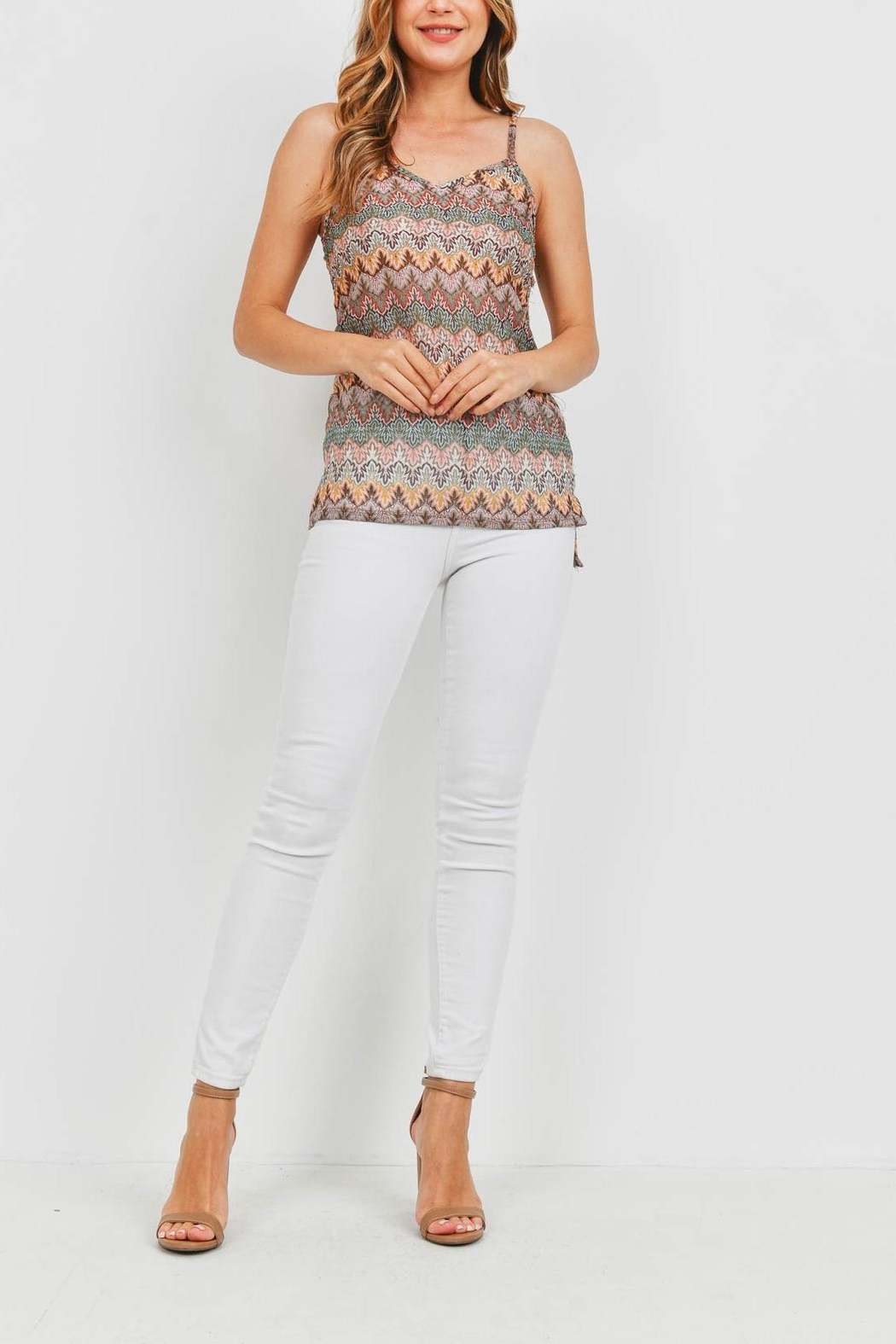 Riah Fashion Multi Color Top - Back Cropped Image