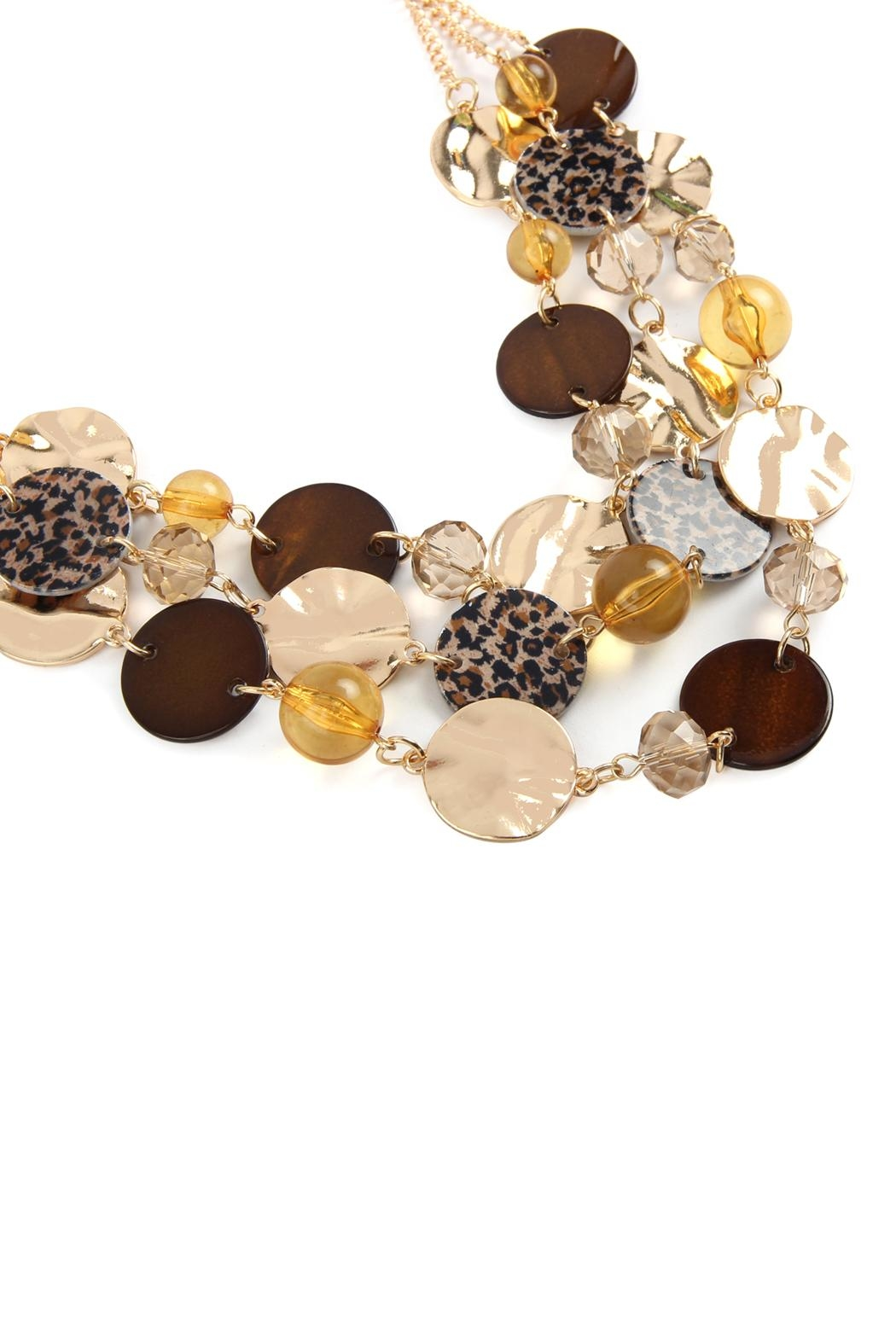 Riah Fashion Multi-Line Disc Statement-Necklace - Front Full Image