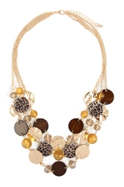 Riah Fashion Multi-Line Disc Statement-Necklace - Product Mini Image