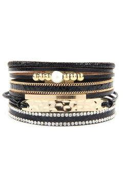 Shoptiques Product: Multi Line Leather With Hammered Metal Plate Charm Bracelet