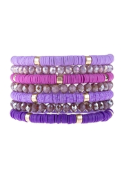 Riah Fashion Multi-Line-Ring-Beaded-Bracelet - Front cropped