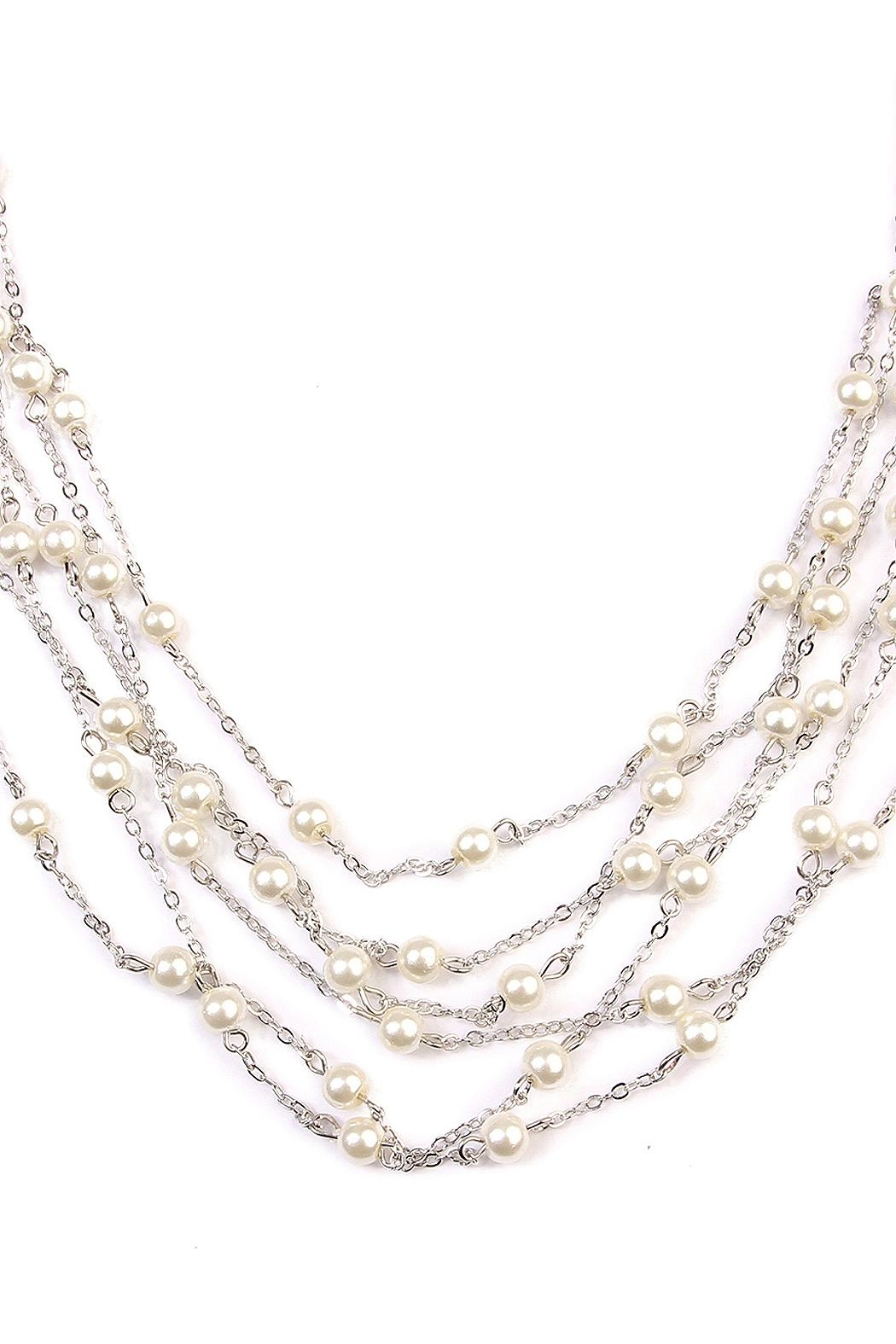 Riah Fashion Multi-Pearl Chain Necklace - Front Full Image