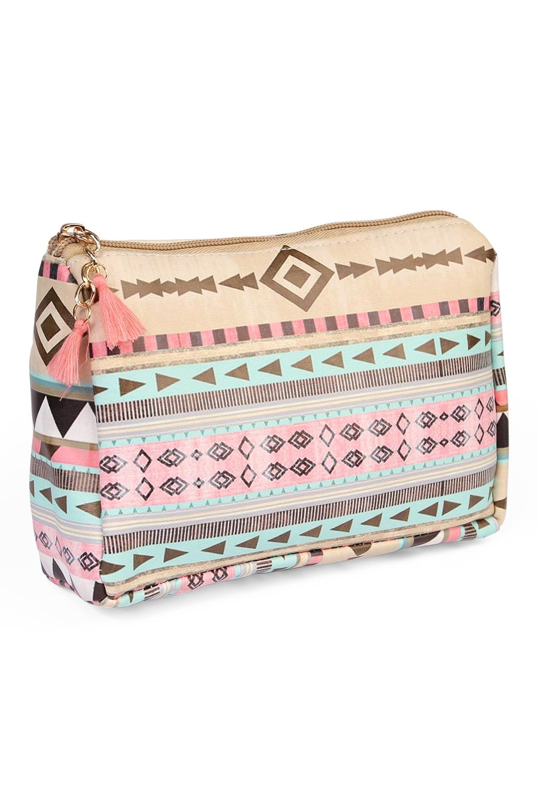 Riah Fashion Multi Print Cosmetic Pouch - Front Cropped Image