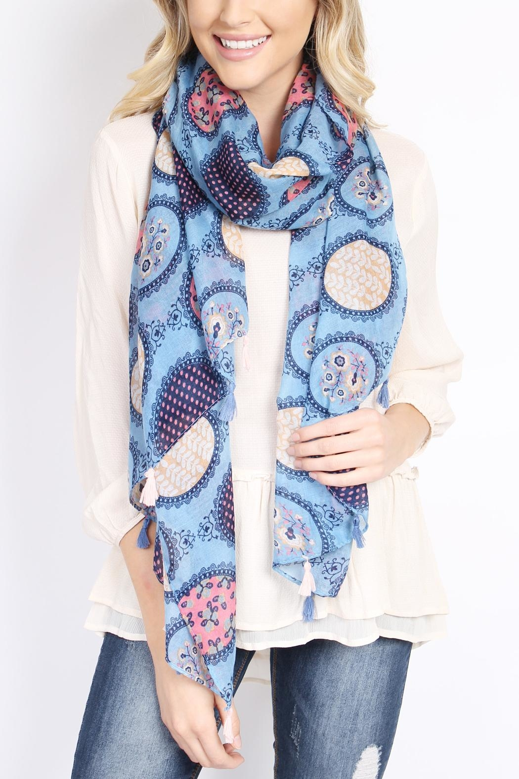 Riah Fashion Multi Printed Oblong Scarf - Side Cropped Image