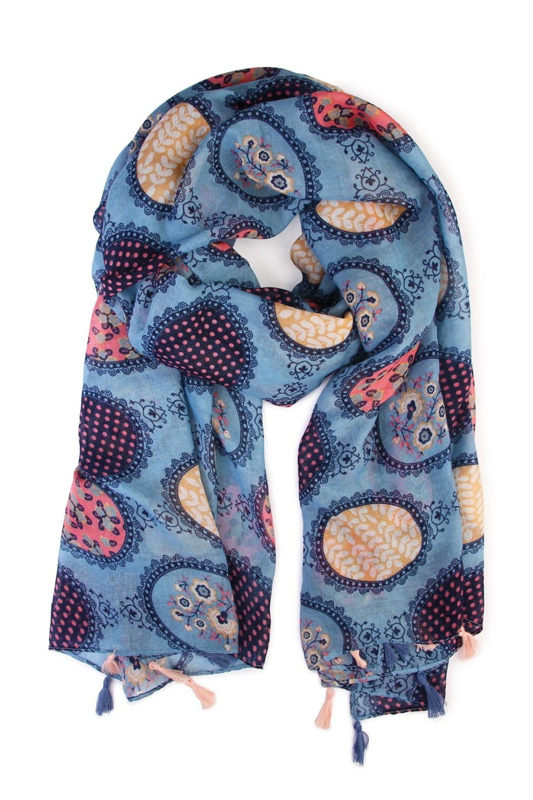 Riah Fashion Multi Printed Oblong Scarf - Front Cropped Image