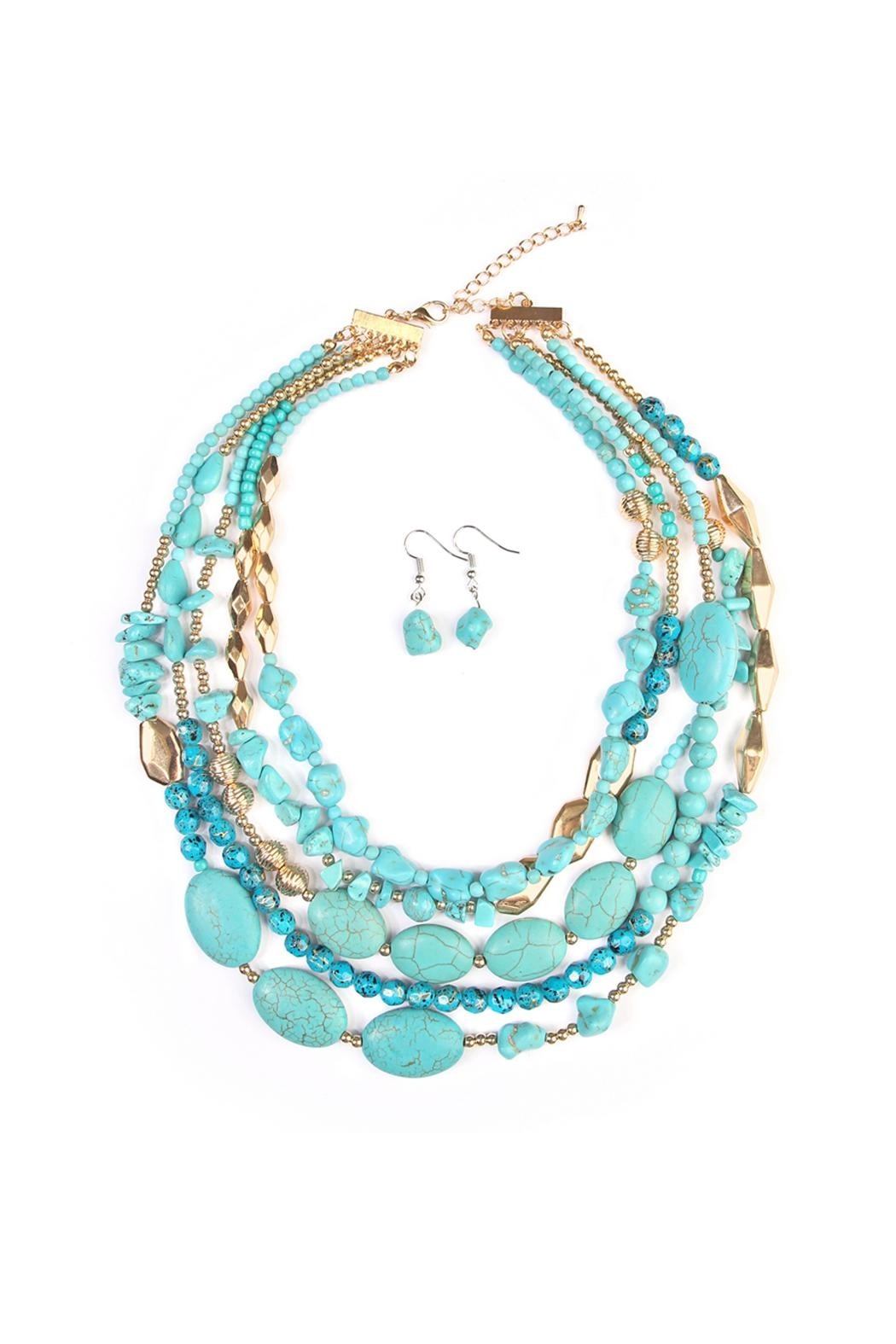 Riah Fashion Multi Strand Necklace Set - Main Image