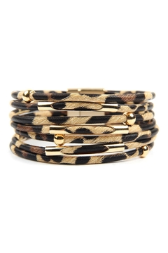 Shoptiques Product: Multi Tube Leopard Charm Bangle Bracelet
