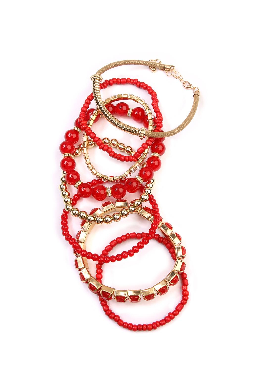 Riah Fashion Multicolor Beaded Stretch Bracelet - Front Full Image