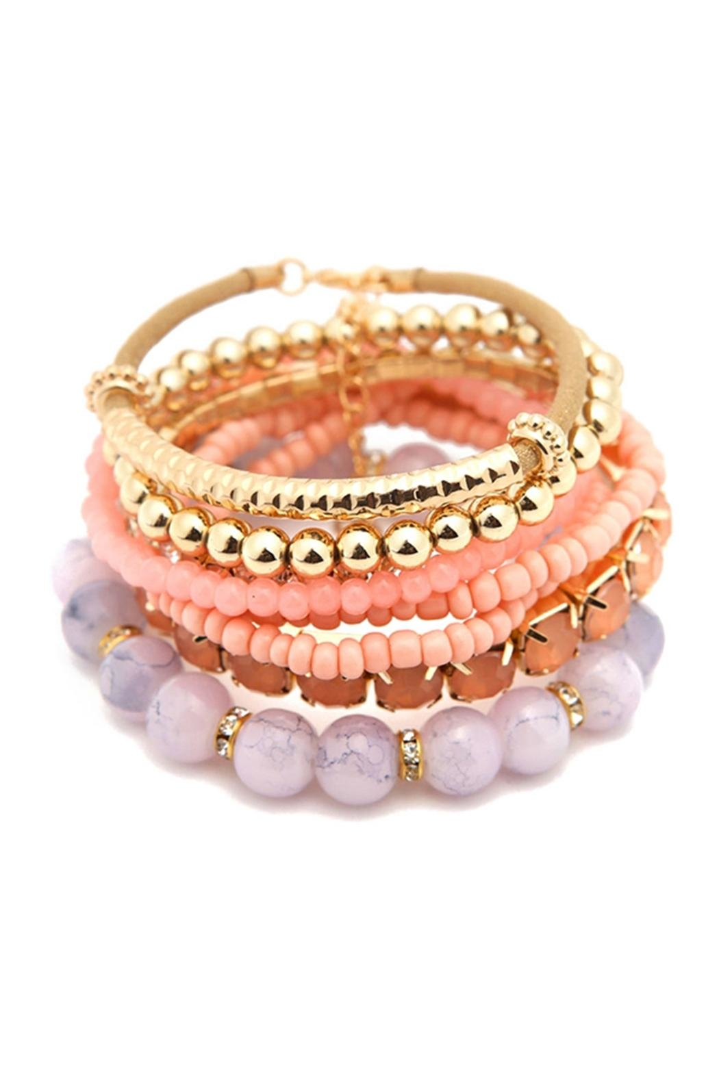 Riah Fashion Multicolor Beaded Stretch Bracelet - Main Image