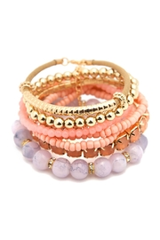 Riah Fashion Multicolor Beaded Stretch Bracelet - Front cropped