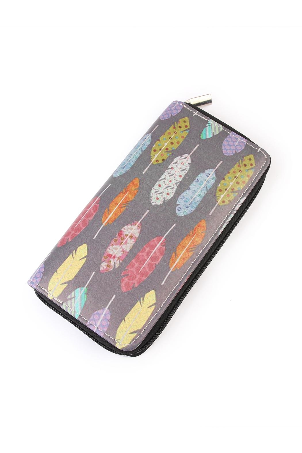 Riah Fashion Multicolor Feather Wallet - Main Image