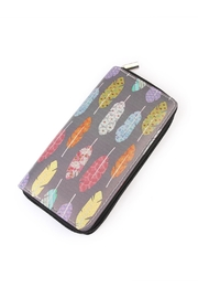 Riah Fashion Multicolor Feather Wallet - Product Mini Image