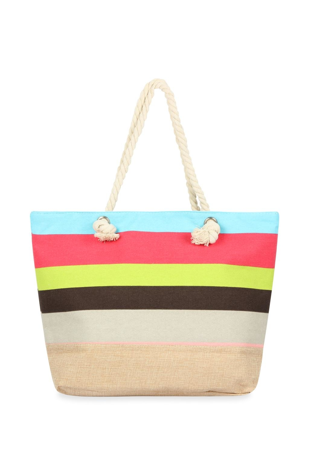 Riah Fashion Multicolor Striped Tote Bag - Main Image