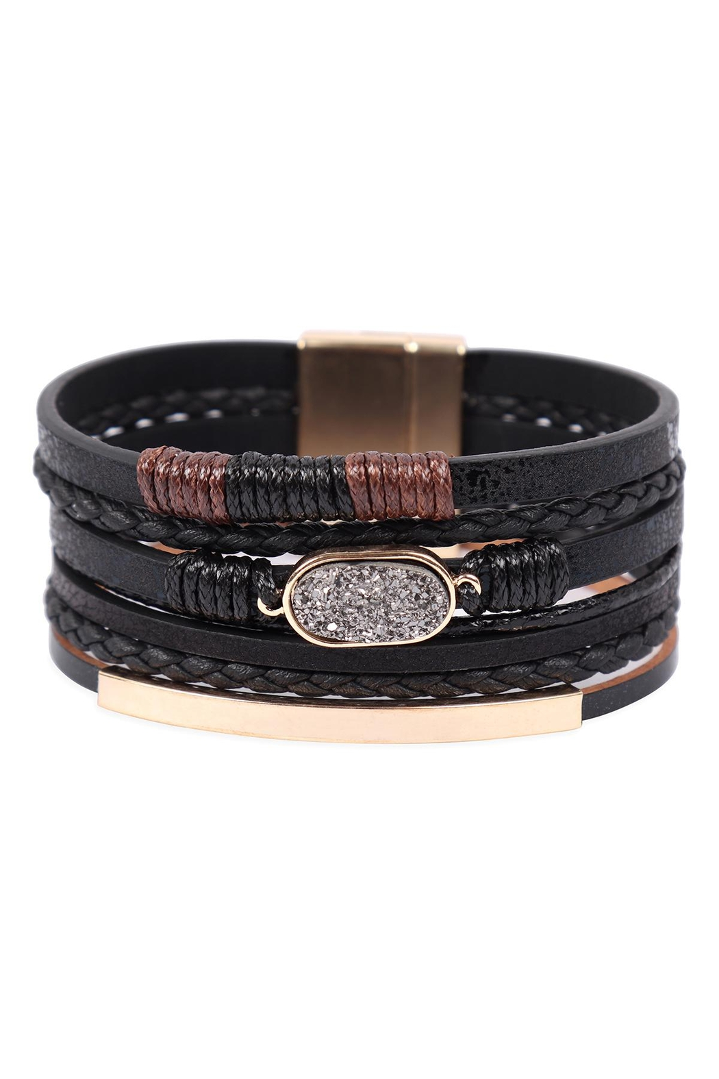 Riah Fashion Multilayer Leather With Druzy Stone Magnetic Lock Bracelet - Front Cropped Image