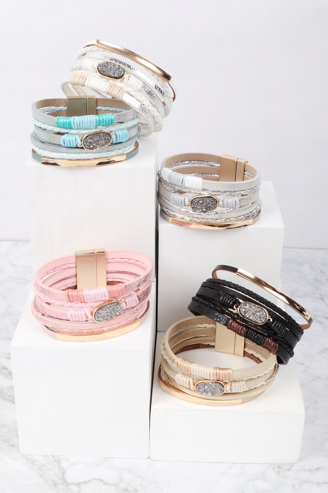 Riah Fashion Multilayer Leather With Druzy Stone Magnetic Lock Bracelet - Front Full Image
