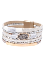 Riah Fashion Multilayer Leather With Druzy Stone Magnetic Lock Bracelet - Front cropped