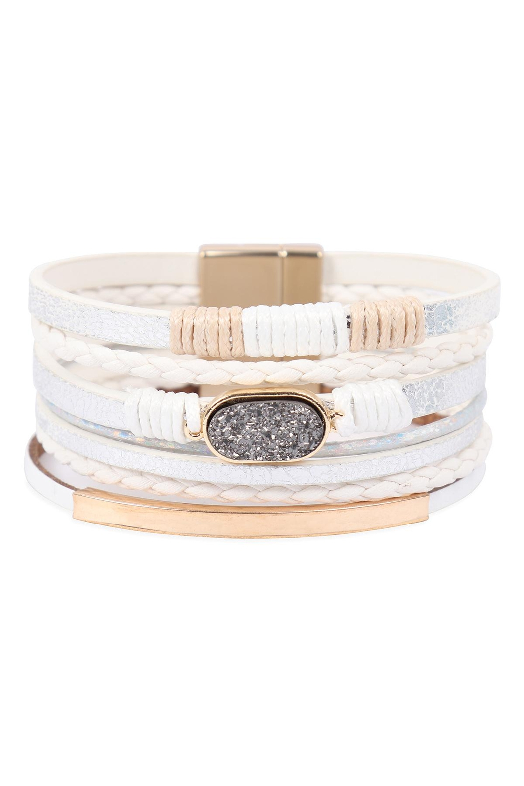 Riah Fashion Multilayer Leather With Druzy Stone Magnetic Lock Bracelet - Main Image