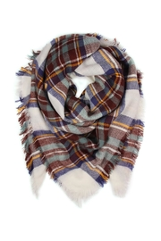 Riah Fashion Mustard/blue Plaid Scarf - Product Mini Image