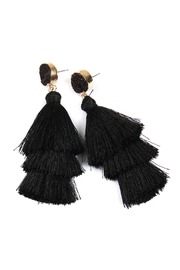 Riah Fashion Natural Druzy Post Tassel Drop Earrings - Front full body