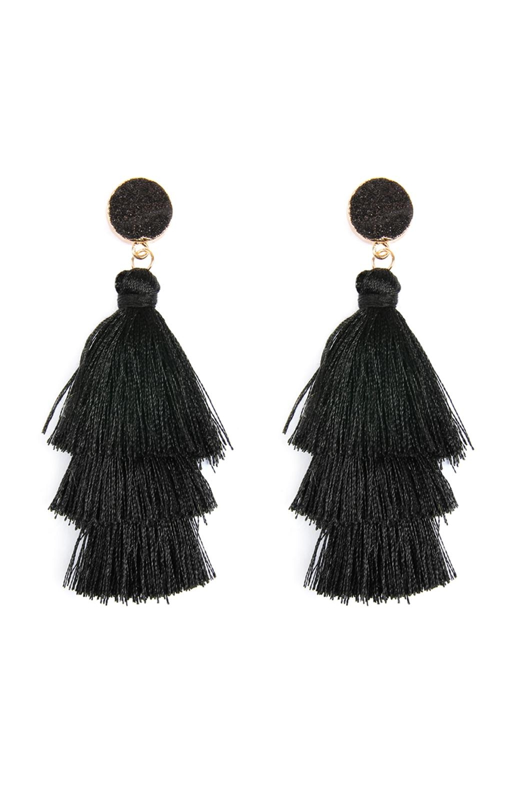 Riah Fashion Natural Druzy Post Tassel Drop Earrings - Main Image