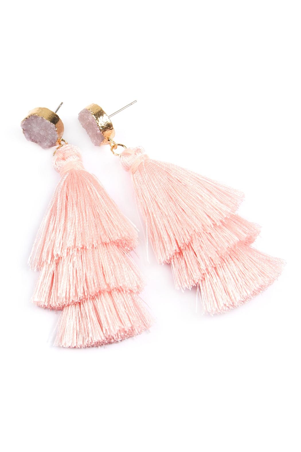 Riah Fashion Natural Druzy Post Tassel Drop Earrings - Front Full Image