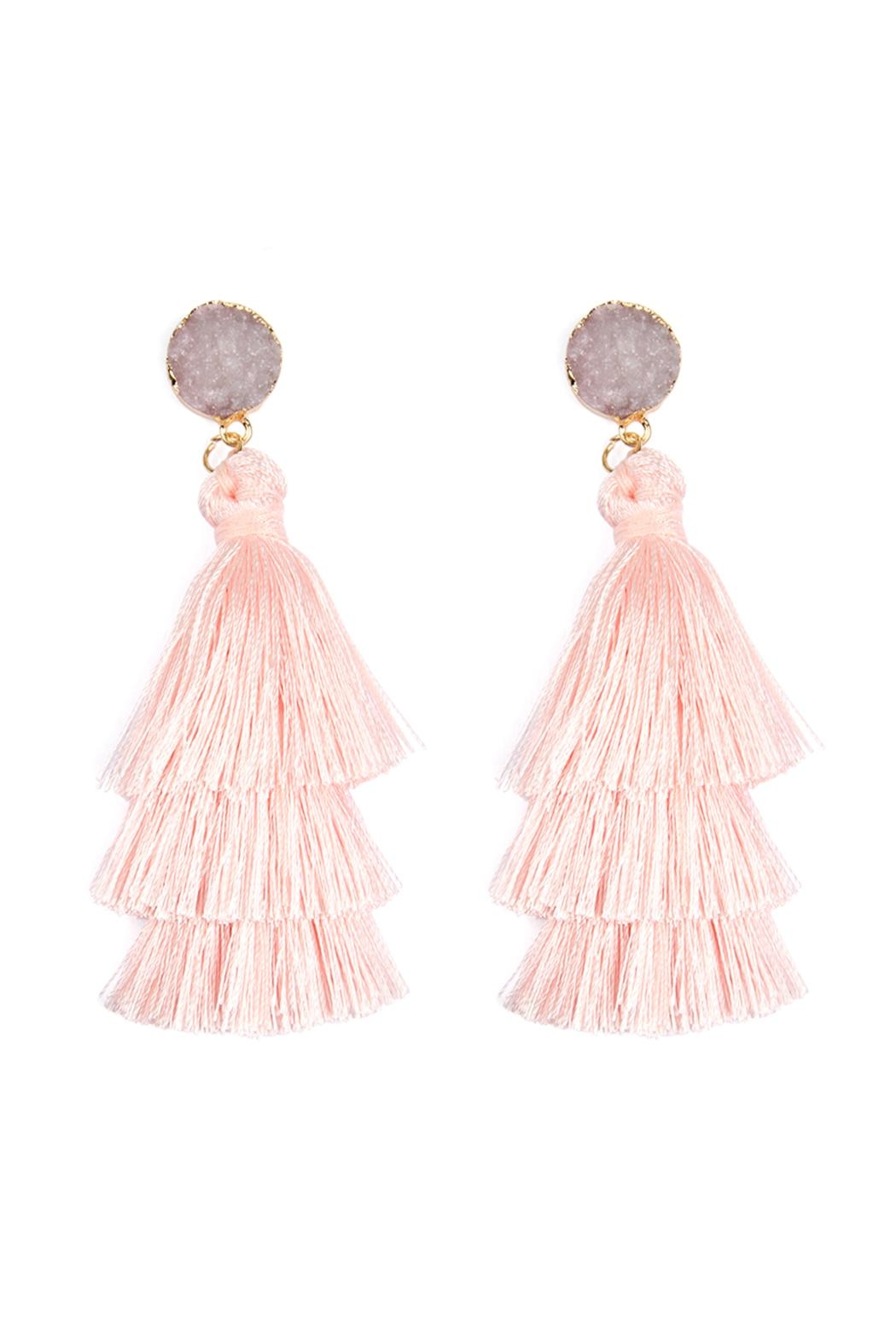 Riah Fashion Natural Druzy Post Tassel Drop Earrings - Front Cropped Image