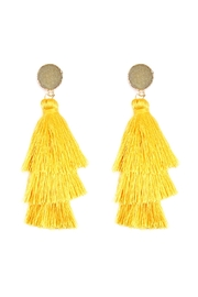 Riah Fashion Natural Druzy Post Tassel Drop Earrings - Front cropped