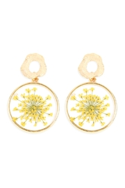 Riah Fashion Natural Flower-Acetate Drop-Earrings - Front cropped