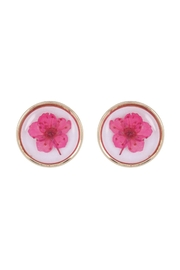 Riah Fashion Natural-Flower-Pressed-Round-Stud-Earrings - Product Mini Image