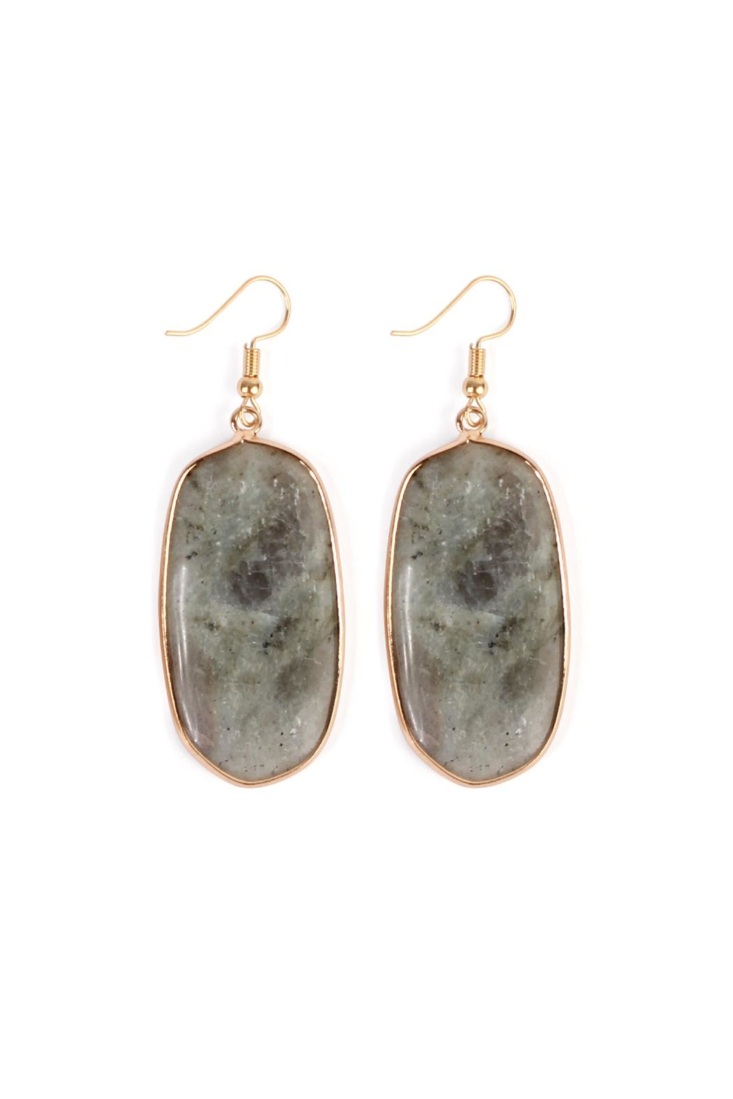 Riah Fashion Natural Oval Stone-Earrings - Front Cropped Image