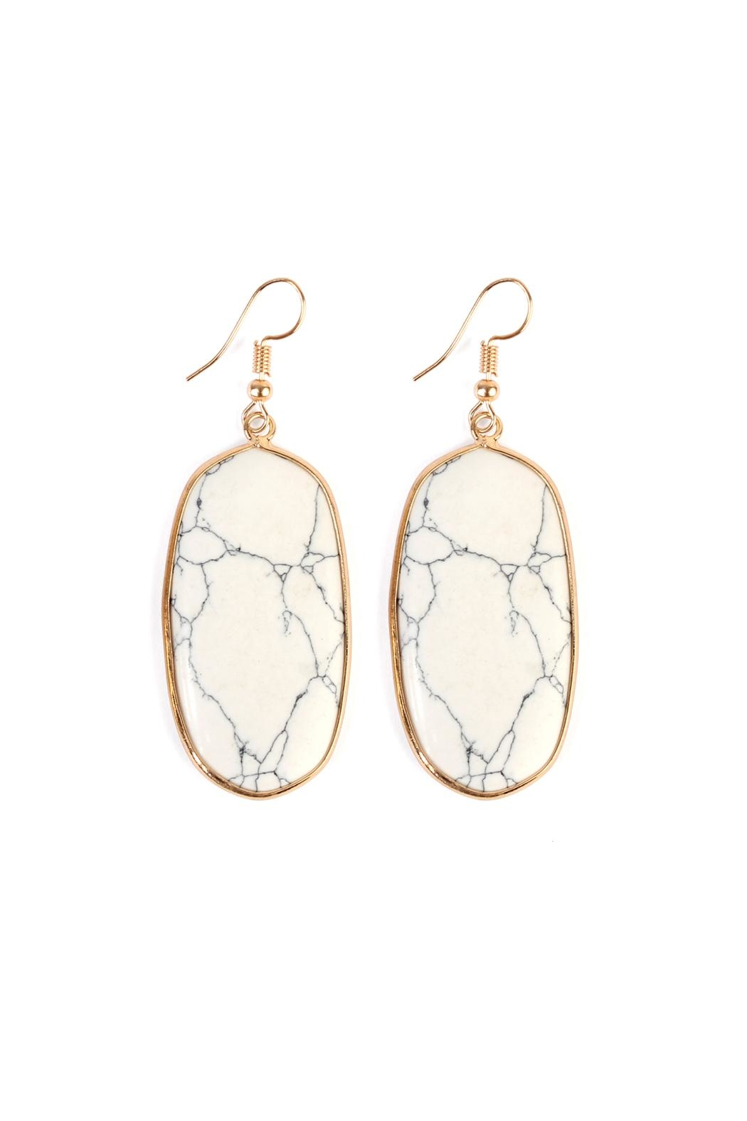 Riah Fashion Natural Oval Stone-Earrings - Main Image