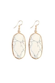 Riah Fashion Natural Oval Stone-Earrings - Front cropped