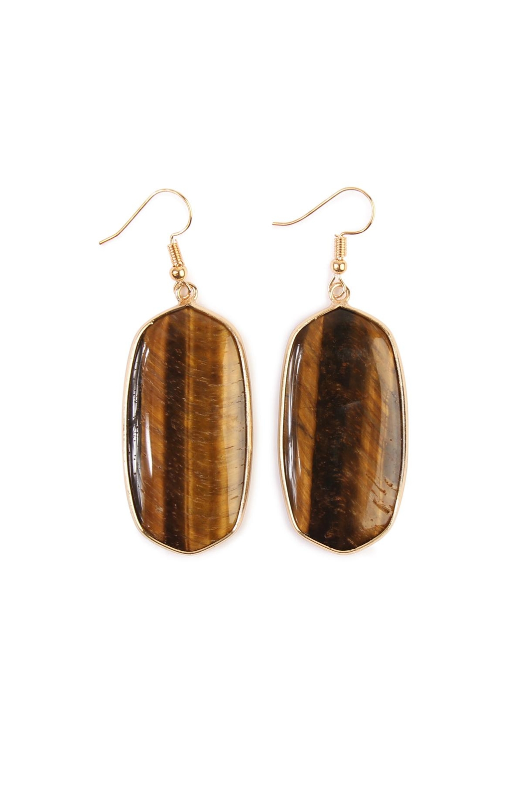 Riah Fashion Natural Oval Stone Earrings - Front Cropped Image