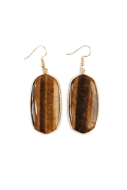 Riah Fashion Natural Oval Stone Earrings - Front cropped