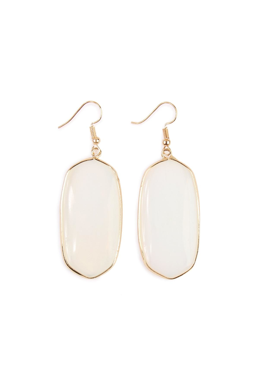 Riah Fashion Natural Oval Stone Earrings - Main Image