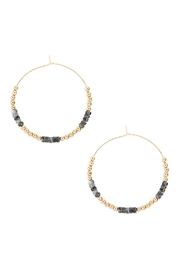 Riah Fashion Natural-Stone-Beads With-Metal-Bead Spacer-Hoop-Earrings - Product Mini Image