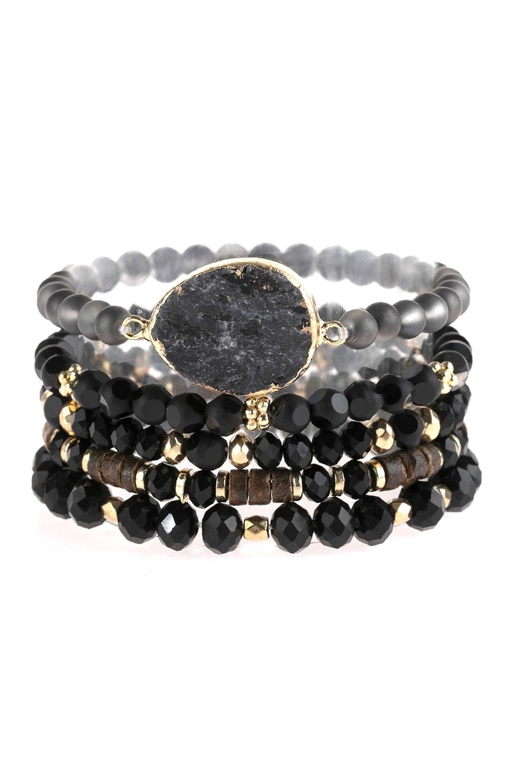 Riah Fashion Natural Stone Charm Mixed Beads Bracelets - Front Cropped Image