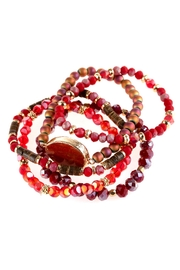 Riah Fashion Natural Stone Charm Mixed Beads Bracelets - Front full body