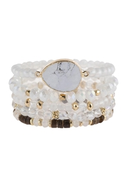 Riah Fashion Natural Stone Charm Mixed Beads Bracelets - Front cropped