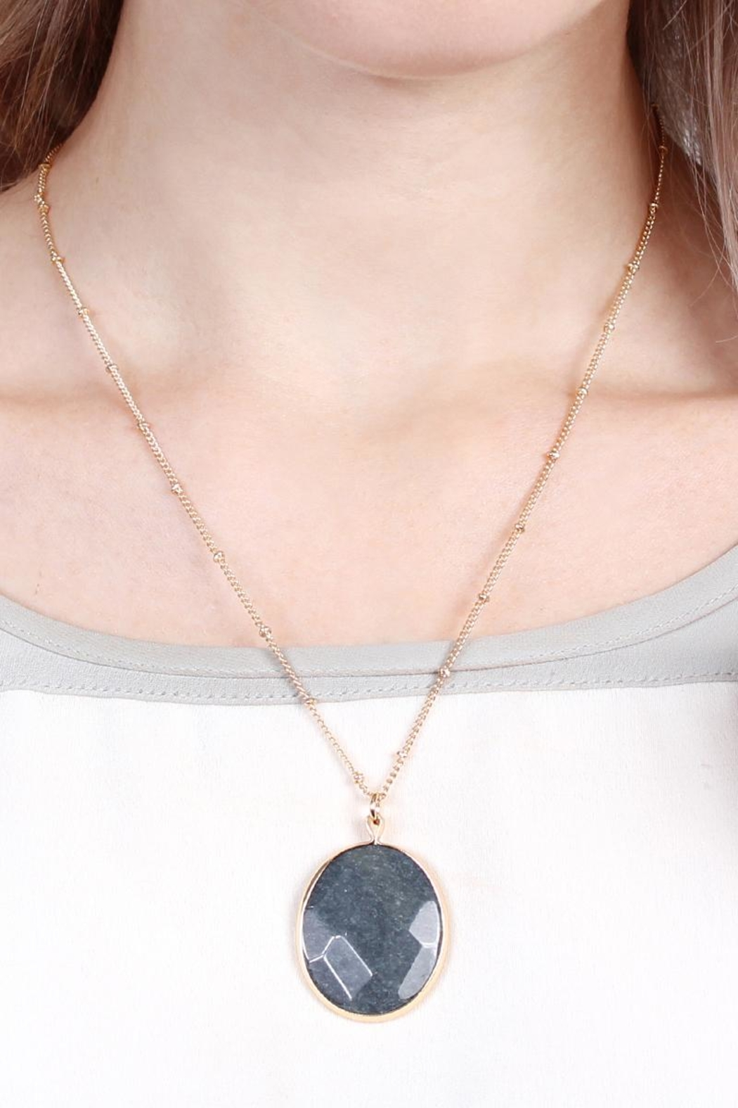 Riah Fashion Natural-Stone Delicate Pendant-Necklace - Side Cropped Image