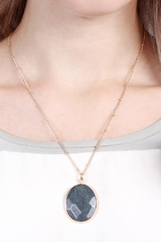 Riah Fashion Natural-Stone Delicate Pendant-Necklace - Side cropped