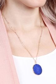 Riah Fashion Natural-Stone Delicate Pendant-Necklace - Front full body