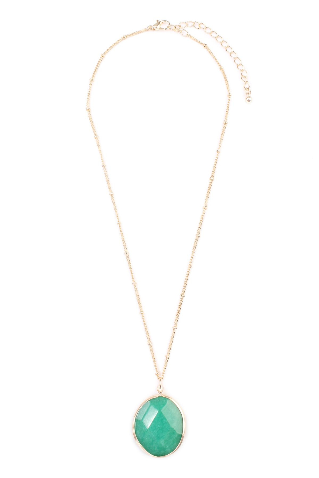 Riah Fashion Natural-Stone Delicate Pendant-Necklace - Front Cropped Image